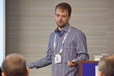 Photo of Daniel Wellman presenting at Agile 2009 by Tom Poppendieck.